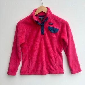 girls Patagonia pink teal snap pullover L 12 fleec